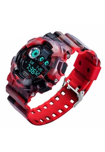 SANDA red SANDA 289 Camouflage Waterproof Outdoor Multifunctional Sports Men's Quality Shockproof Digital Watch (Red) SA708AC0RXGFMY_1