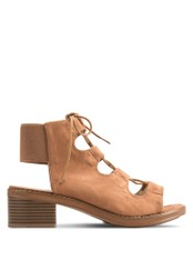 MISSGUIDED brown Elastic Back Block Heel Lace Up Sandals Tan MI511SH38EFLMY_1