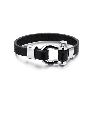 Glamorousky silver Simple Creative Geometric 316L Stainless Steel Leather Bracelet 21BC4AC4503627GS_1