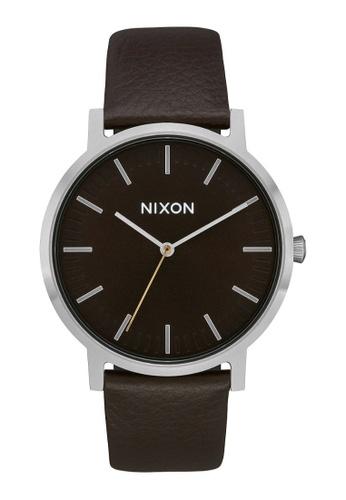 Nixon brown Nixon Porter Leather Dark Cedar, Dark Brown ,42mm - A10582986 254ABACD28E791GS_1