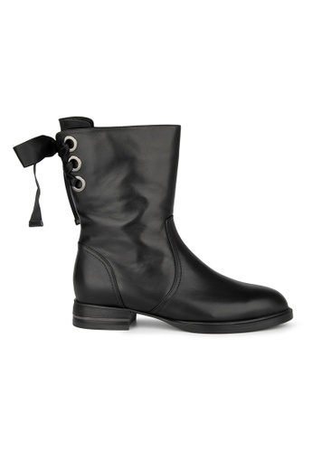 MAUD FRIZON black Calf Leather Round Toe Riding Boot With Laced Up Detail 21CDFSH7B937FEGS_1