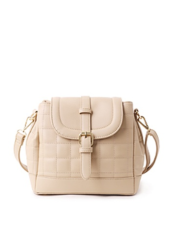 Sesura beige Quilted Boxes Bucket Bag SE113AC92LIPPH_1