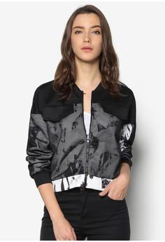Abstract Print Mesh Overlay Jacket
