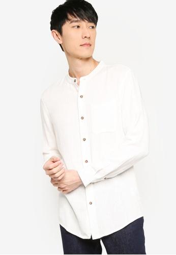 ZALORA BASICS white Regular Grandad Collar Linen Blend Shirt 2F365AAAB2D282GS_1