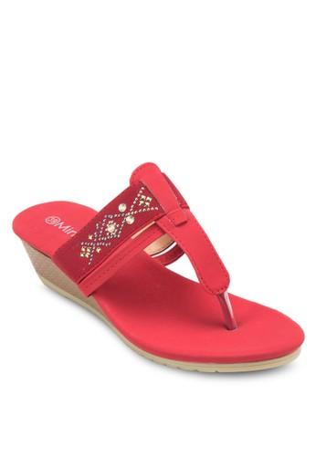 閃esprit台灣官網飾人字帶楔形涼鞋, 女鞋, 楔形涼鞋