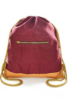 Maroon Drawstring Bag with zipper pocket