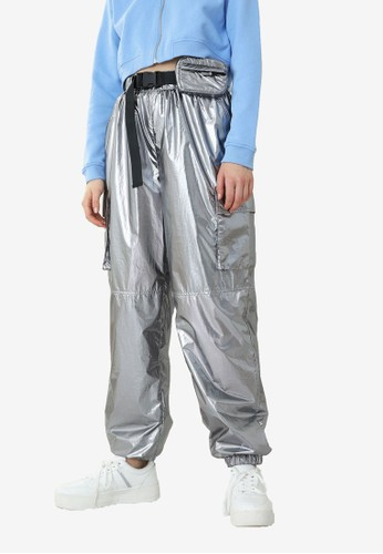 PIMKIE silver Metallic Finished Joggers 295F9AA1861F4AGS_1