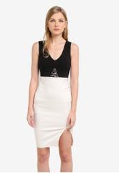 Vesper black and white Alana Monochrome Lace Detail Dress VE733AA0S78EMY_1