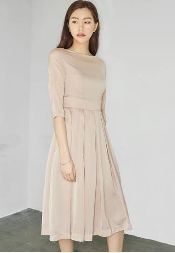 褶飾及膝連身裙, 服飾, 洋esprit china裝