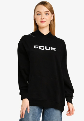 French Connection black FCUK Oversized Hoodie BCD8FAA8F3CCCFGS_1