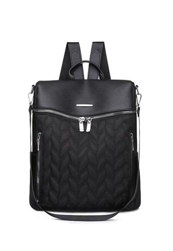 Lara black Women's Anti-theft Oxford Cloth Zipper Backpack - Black 50AB2AC38008DFGS_1