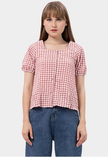 MKY Clothing pink Button Gingham Blouse in Pink F58A8AAAA12054GS_1