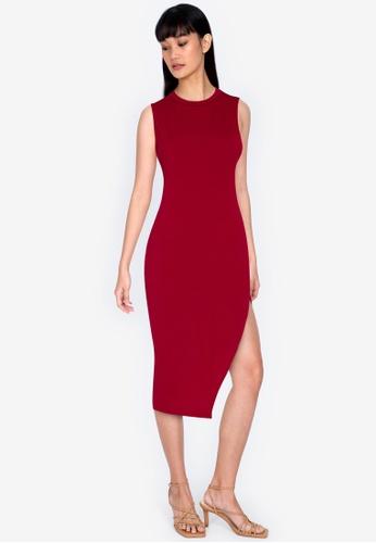 ZALORA BASICS red Split Sleeveless Midi Dress 9361CAA5E1862CGS_1