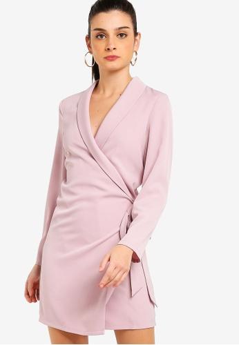ZALORA pink Roll Neck Overlap Dress 0EB7CAACE066C8GS_1
