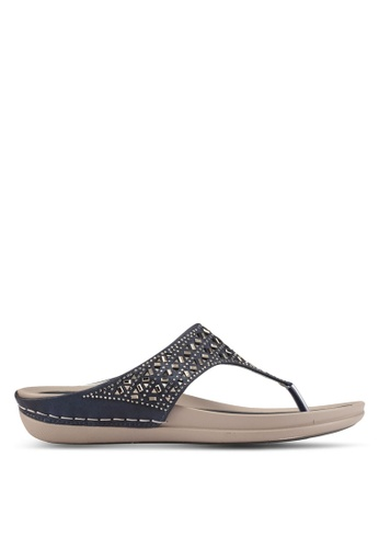 Noveni blue and navy Noveni T-Strap Sandals NO978SH0S9RGMY_1