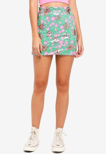 c79b2ef13 Buy TOPSHOP Flower Sequin Mini Skirt Online | ZALORA Malaysia