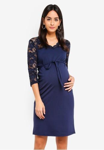 Mama.licious multi and navy Maternity Blackie Mivana 3/4 Dress C95D4AAA91AA42GS_1