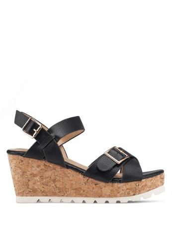Carlton London 黑色 交叉繞帶楔型鞋 C36E7SH180A546GS_1