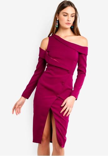 Lavish Alice purple Off The Shoulder Long Sleeve Tuxedo Midi Wrap Dress  B5D32AA0D5619EGS 1 cabb554a4