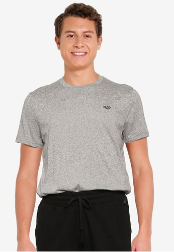 Hollister grey Crew Solid T-Shirt 3E215AA6403C39GS_1