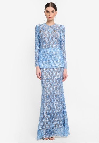 Rizalman for Zalora white and blue Slim Lace Kurung RI909AA0SF16MY_1