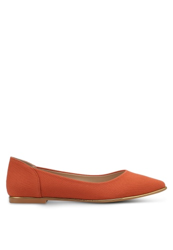 ZALORA orange Canvas and Gold Detail Flats 2137ASHC212053GS_1