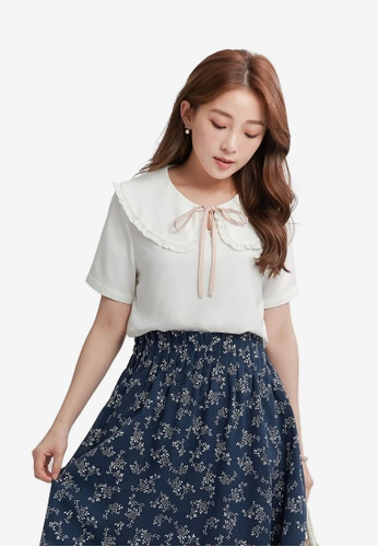 YOCO white Blouse with Ruffled Peter Pan Collar 90674AA2A65A76GS_1