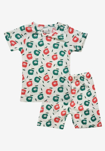 Babysoy red and green Short Sleeve Lounge Set Apple 7AA16KAB5F6A73GS_1
