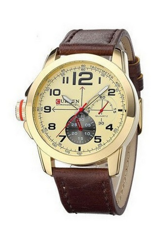 curren gold Curren 8182 Men's Military Leather Strap Watch (Gold) CU537AC13SZIMY_1