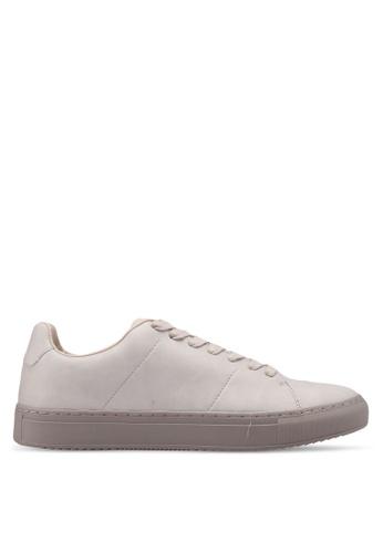 Burton Menswear London grey Grey Leather Look Trainers 6B6FDSH4B92B3AGS_1