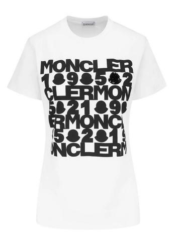 Moncler white Moncler Sequin Logo T-Shirt in White 69082AA5591C22GS_1