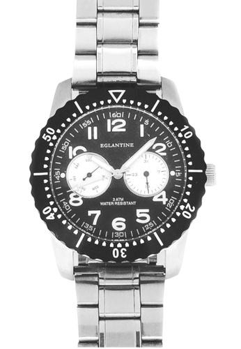 EGLANTINE silver EGLANTINE® Terrenz Unisex Steel Quartz WatchBlack Dial on Steel Bracelet F8925ACF54682AGS_1
