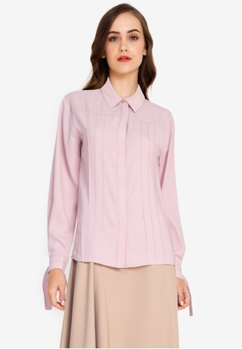 ZALORA WORK pink Front Pleated Blouse 84F00AA134BD72GS_1
