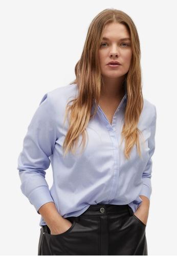 Violeta by MANGO blue Plus Size Oxford Shirt BFBA2AAE4A5695GS_1
