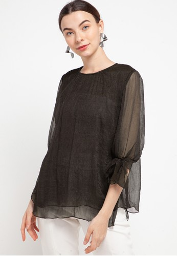 Kisoon Harto brown Blouse Youryu FCF24AAE6AF602GS_1