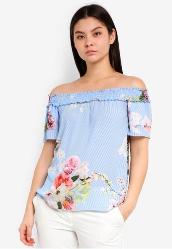 ca7f66d14aa584 Buy Dorothy Perkins Blue Stripe Floral Bardot Top Online on ZALORA ...