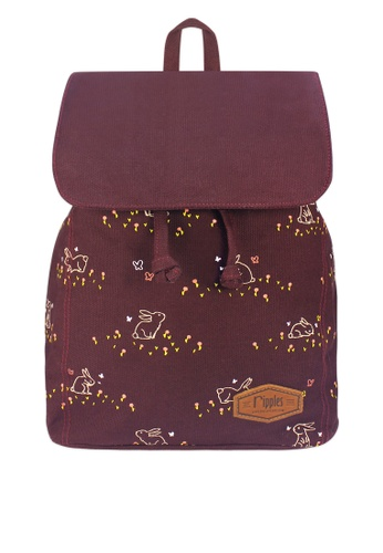 Ripples brown Meadow Rabbits Ladies Backpack 6D5C1ACEB4E44CGS_1