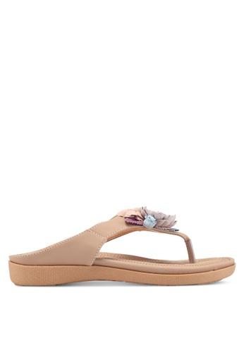 Mimosa 粉紅色 花卉飾夾腳涼鞋 C4FBFSH28734EBGS_1