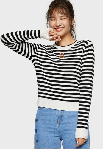 6IXTY8IGHT black 6IXTY8IGHT KAISLEY Women Outerwear Long Sleeve Stripes Sweater Fashion Bottoming Tops ST09408 E8967AA6A542D1GS_1