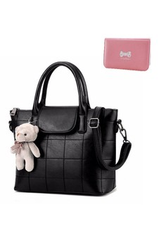 New Korean Style Handbag with Square Stitch Design and Teddy Bear Keychain