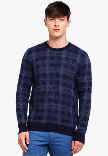 United Colors of Benetton blue Check Knitted Sweater 06654AA70F4336GS_1