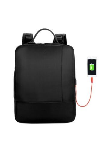 Jackbox black Korean Fashion Two Tones Ipad  Laptop Bag with USB Charging Port Backpack 551 ( Black ) 94994AC87E3B28GS_1