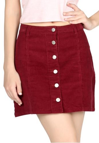 London Rag red Corduroy Burgundy Short Skirt 7D1C5AA1314392GS_1