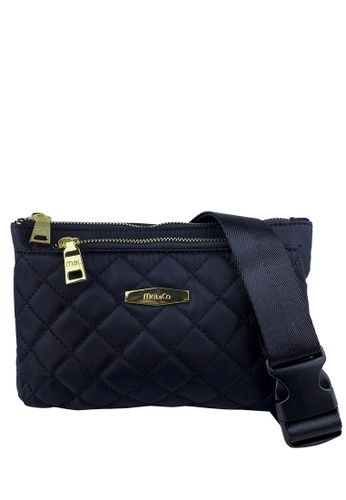Mel&Co black Front Quilted Nylon Waist Pouch 9123DACA8319A2GS_1