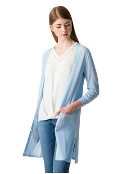 【ZALORA】 OUWEY歐薇 都會七分袖針織長版薄外套