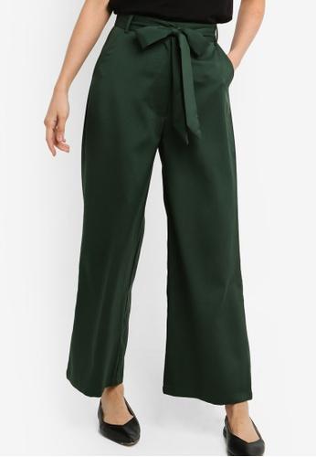 ZALORA BASICS green Basic Woven Wide Leg Pants With Tie 8176FAA57A210DGS_1