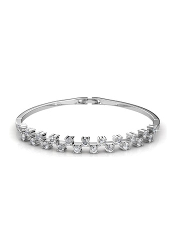 Her Jewellery silver Swarovski® Crystals - Sweet Bangle (White Gold)(18K White Gold Plated) Her Jewellery HE581AC0RAF5MY_1