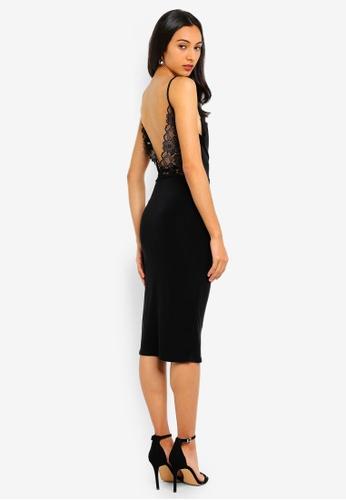 711ffd2b MISSGUIDED black Strappy Lace Back Slinky Midi Dress C74B8AA0101B46GS_1