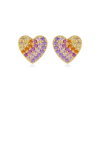 Glamorousky silver 925 Sterling Silver Plated Gold Simple Bright Heart-shaped Stud Earrings with Colorful Cubic Zirconia E7DE5AC3B5C5B5GS_1