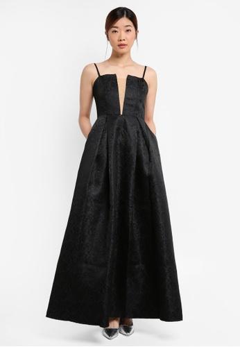 Preen & Proper black Jacquard Fit & Flare Maxi Dress PR614AA0RRXIMY_1